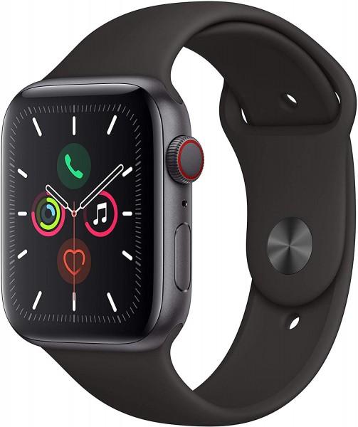 Apple Watch Series 5 (GPS + Cellular, 44 mm) Aluminiumgehäuse Space Grau - Sportarmband Schwarz
