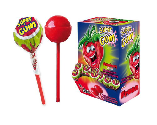 Jake Super Gum Strawberry Lolly 1x100